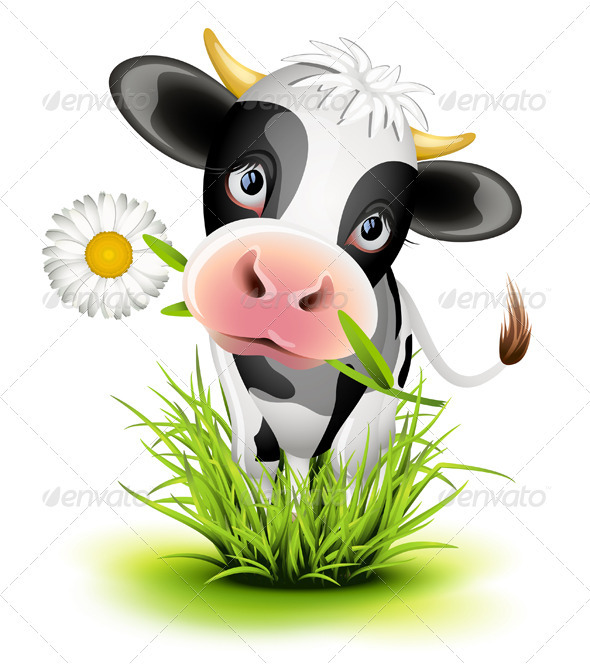 Holstein cow in grass - Animals Characters