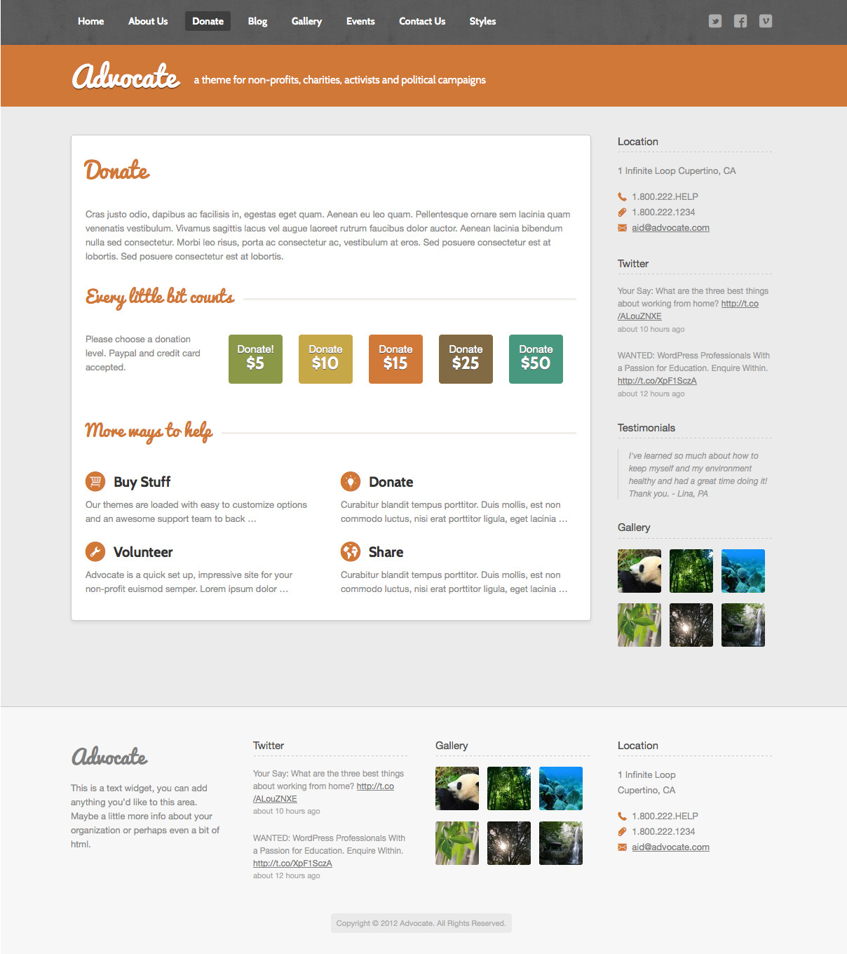 Advocate - A Nonprofit Responsive HTML Template  - Donate Page