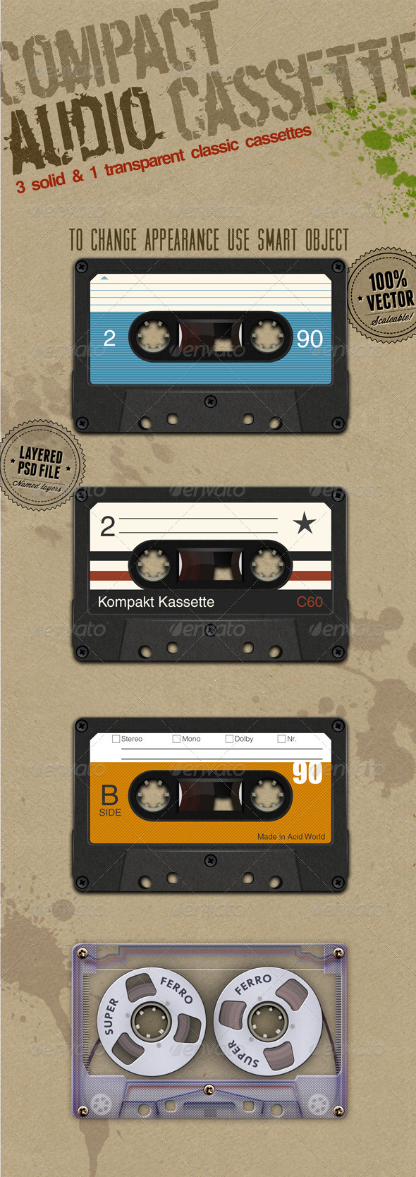 GraphicRiver Audio Cassettes 3217899