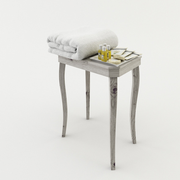Bathroom Stool with Amenities and Towel - 3DOcean Item for Sale