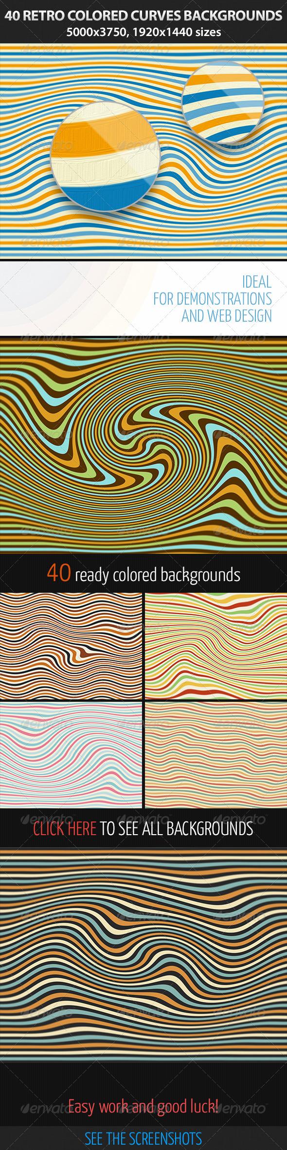 40 Retro Colored Curves