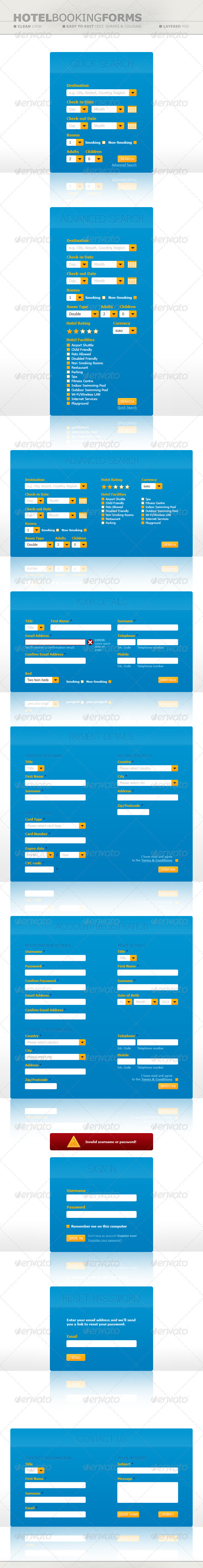 Hotel Booking Forms - Forms Web Elements