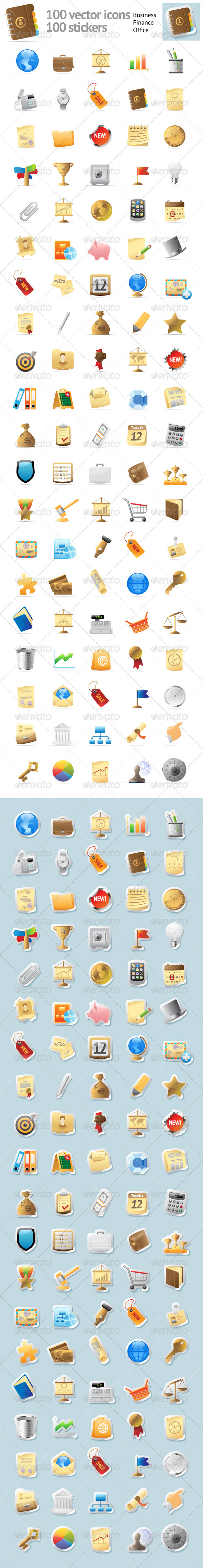 GraphicRiver 100 Icons For Business 3218621