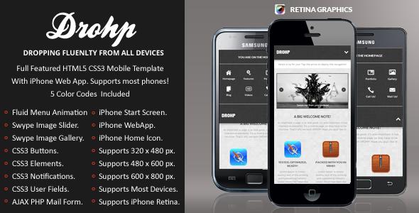 Drohp Mobile Retina | HTML5 & CSS3 And iWebApp