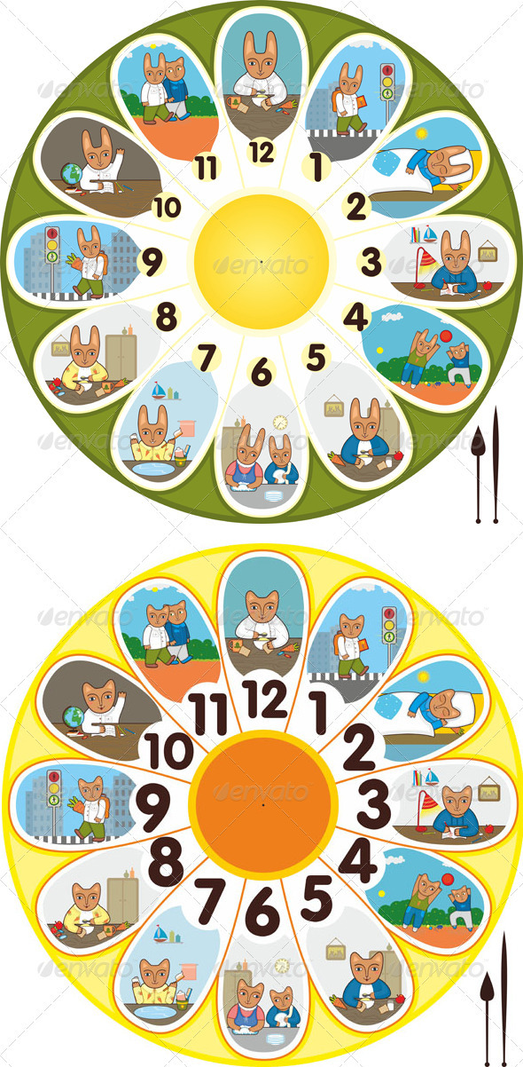 Clock Rabbit Cat Schoolchild - Objects Vectors