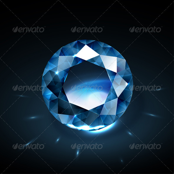 Realistic blue diamond illustration - Man-made Objects Objects