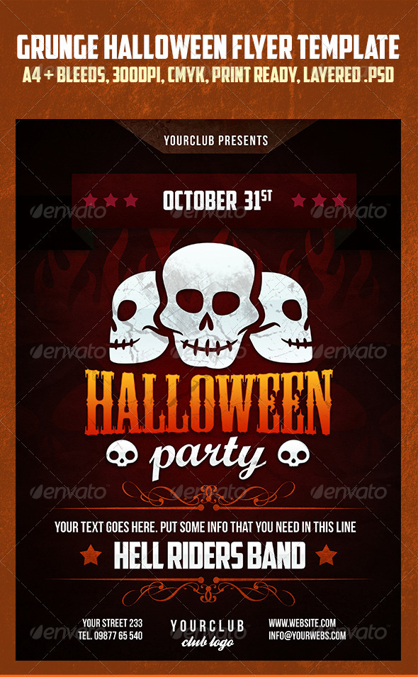 Grunge Helloween Party Flyer Template - Holidays Events