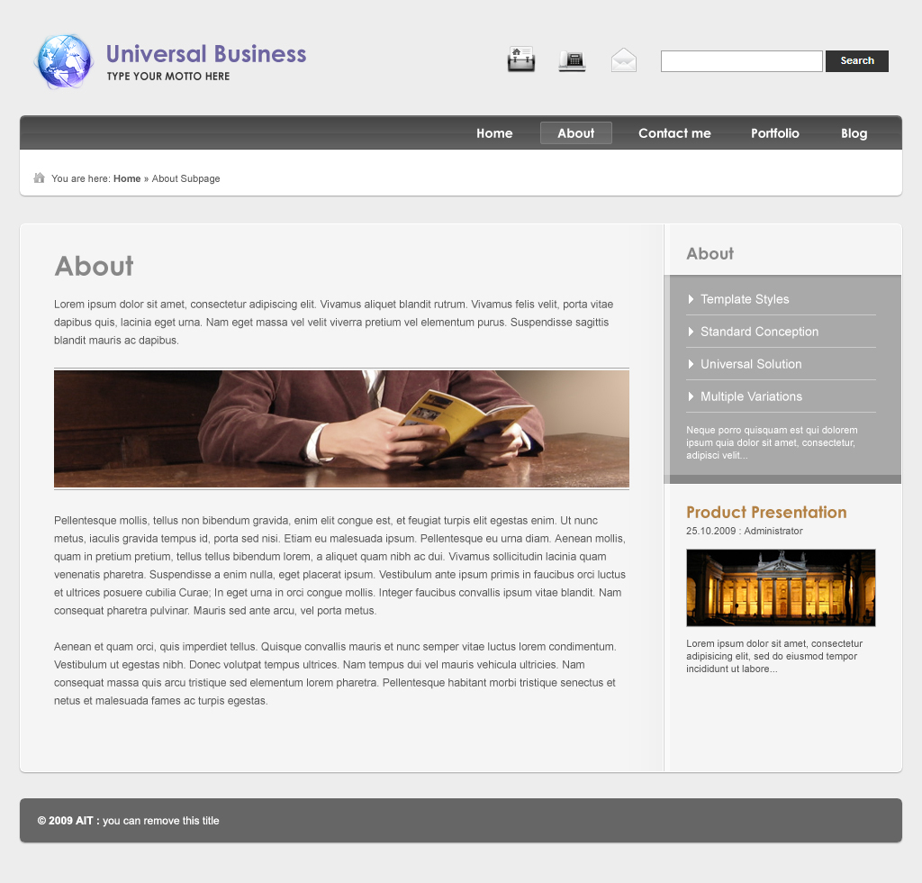Universal Business Wordpress Template - Subpage