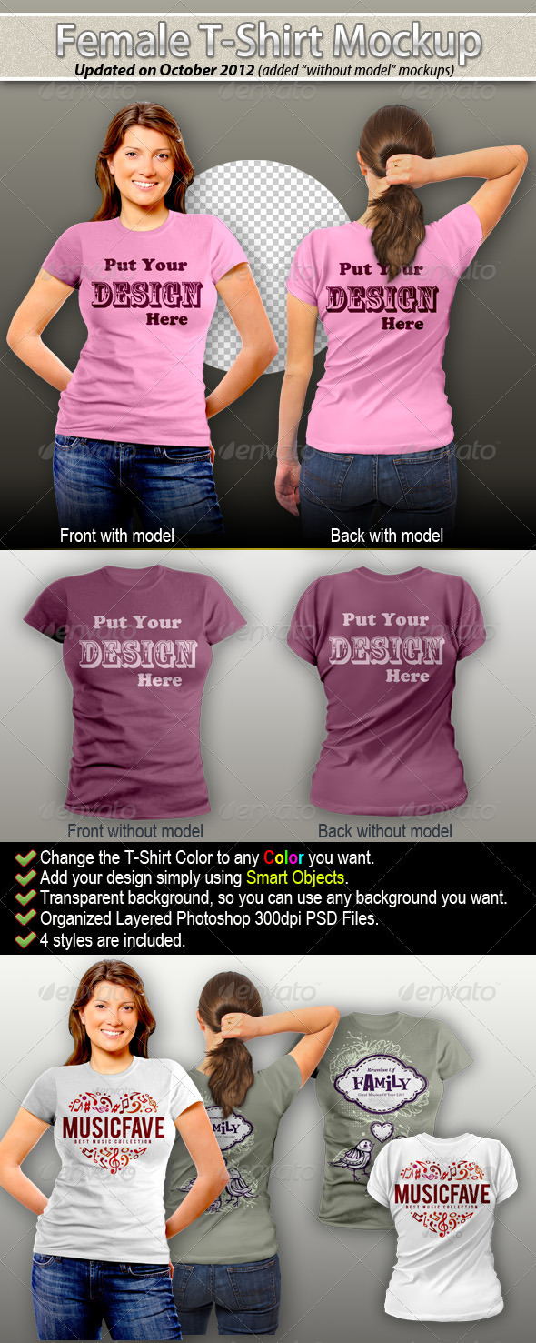 Female T-Shirt Mock-Up - T-shirts Apparel
