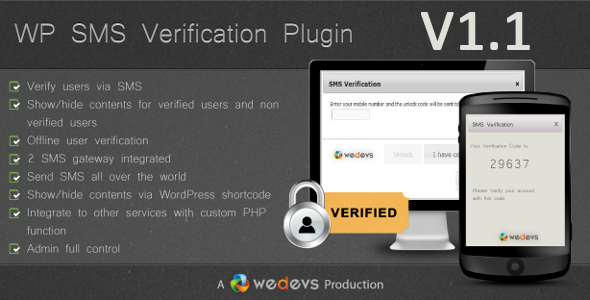 WP SMS Verification - CodeCanyon Item for Sale