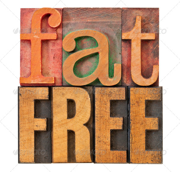 fat free in letterpress wood type - Stock Photo - Images