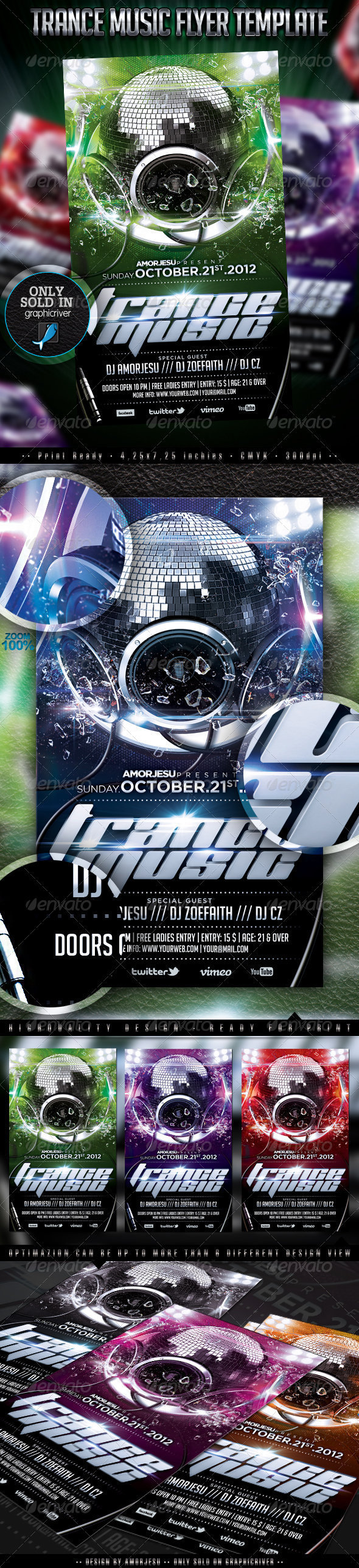 Trance Music Flyer Template - Events Flyers