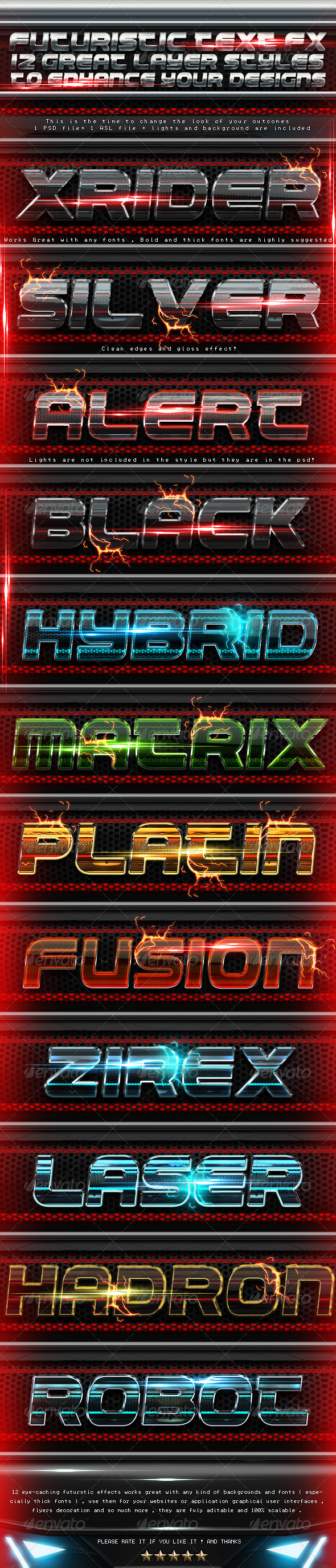Futuristic Layer styles - Text Effects Actions