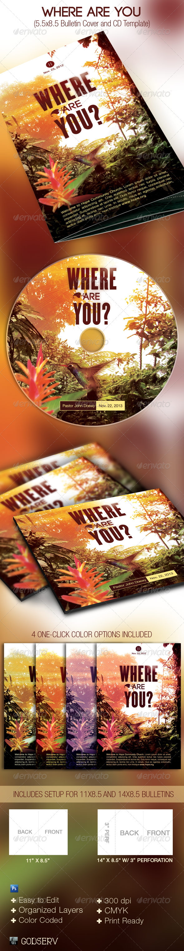 Where Are You Church Bulletin and CD Template - Miscellaneous Print Templates