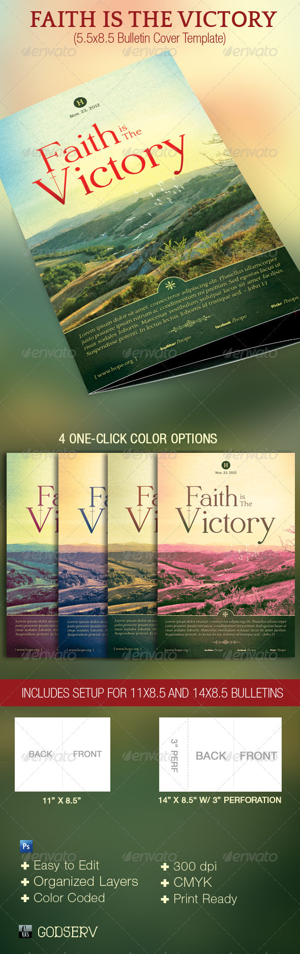 Faith Is The Victory Bulletin Cover Template - Miscellaneous Print Templates