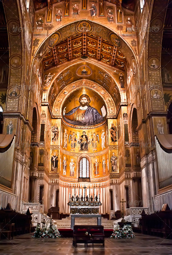 Cathedral of Monreale- Palermo-Sicily - Stock Photo - Images