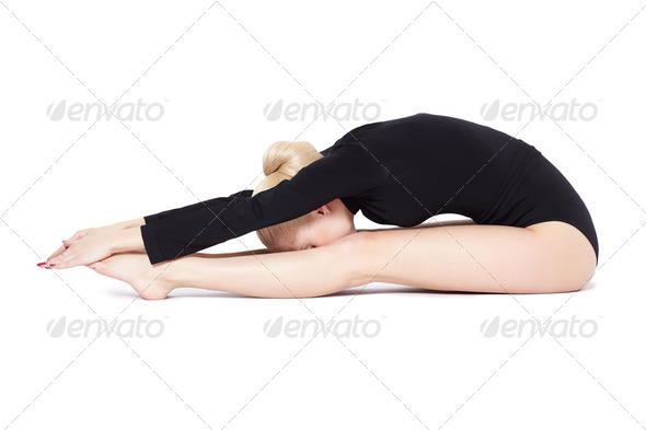 beautiful blonde gymnast - Stock Photo - Images