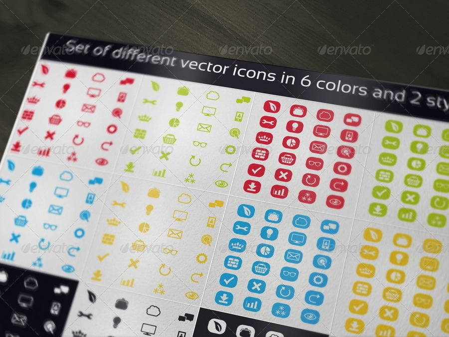 Set of Different Vector Icons in 6 Colors