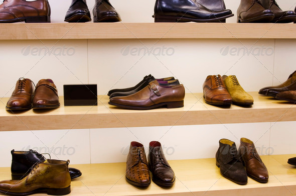 Male shoes on display - Stock Photo - Images