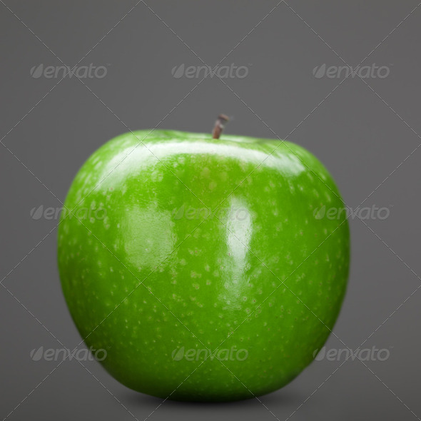 green apple isolated on grey - Stock Photo - Images