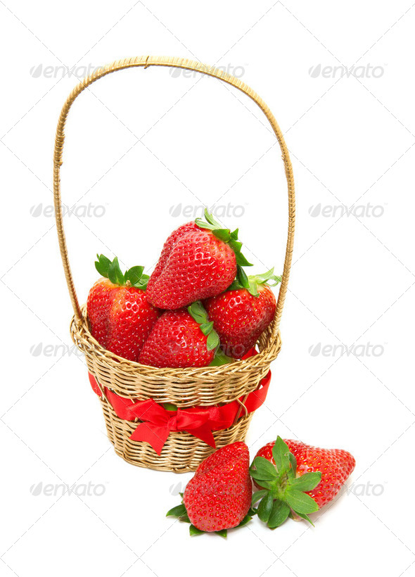 Fresh, ripe strawberries in a basket on a white background - Stock Photo - Images