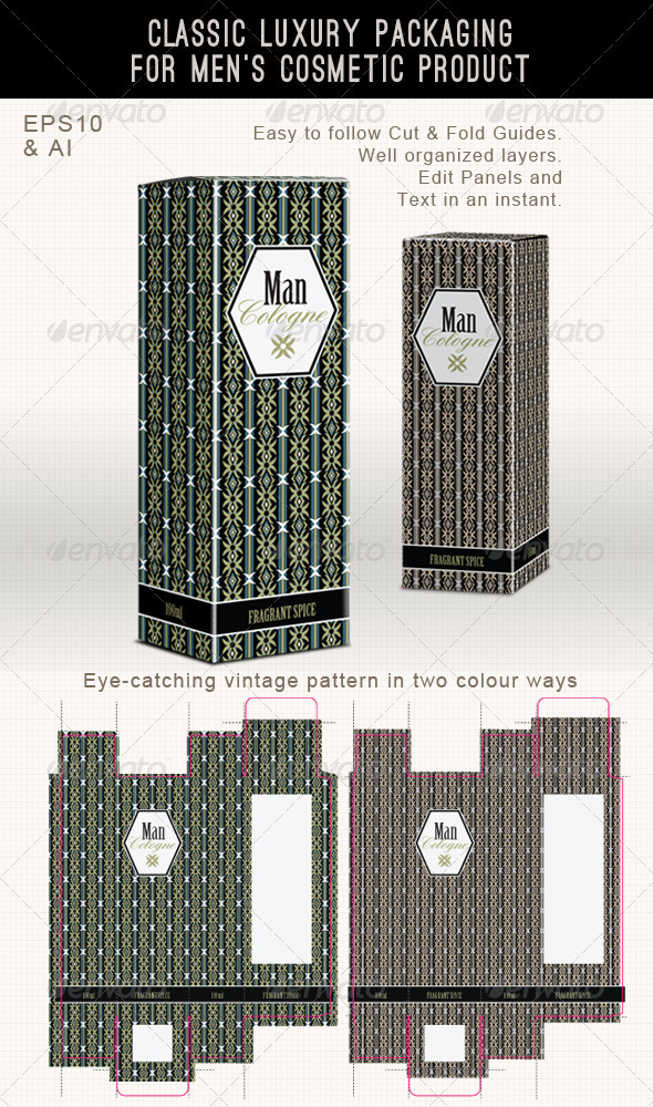 Men's Fragrance or Cosmetic Box Template - Packaging Print Templates