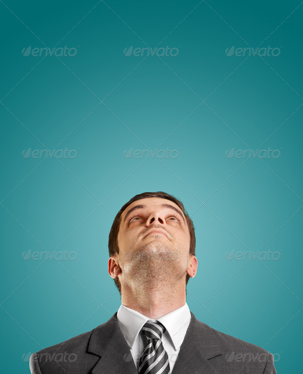Businessman Looking Upwards - Stock Photo - Images