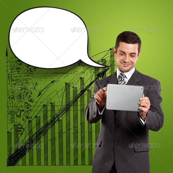 Business Man With Speech Bubble - Stock Photo - Images