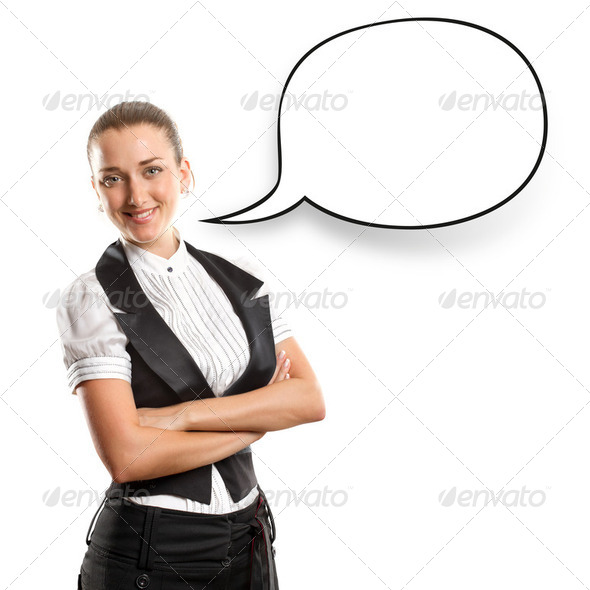 Business Woman With Speech Bubble - Stock Photo - Images