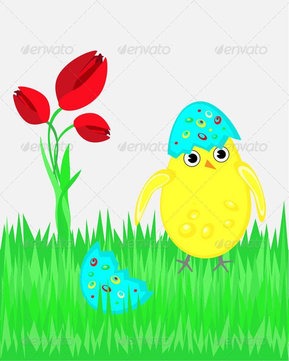 Happy Easter illustration with funny chicken - Stock Photo - Images