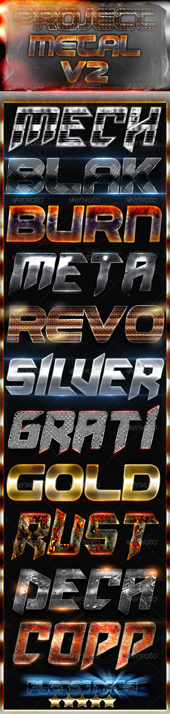 Project Metal V2 - Photoshop Text Styles - Text Effects Styles