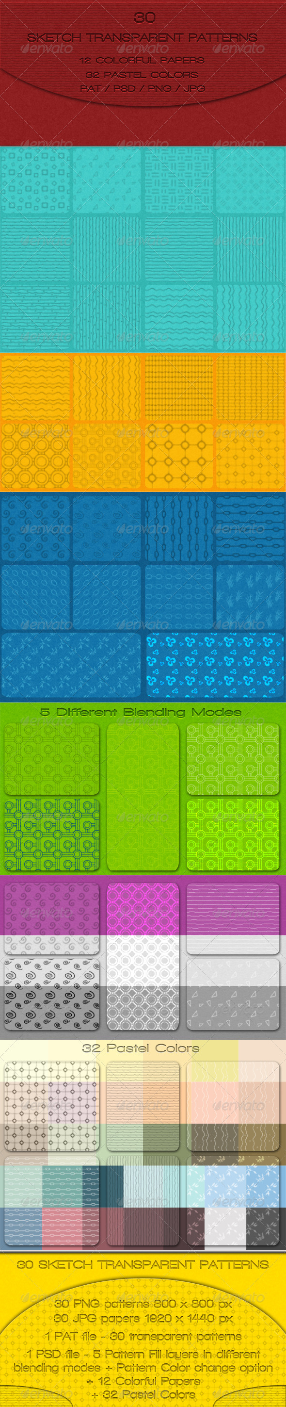 30 Sketch Transparent Patterns - Textures / Fills / Patterns Photoshop