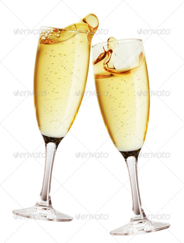 Champagne glass isolated - Stock Photo - Images