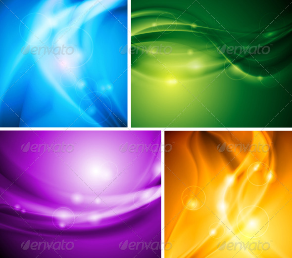 Colourful waves. Vector template - Backgrounds Decorative