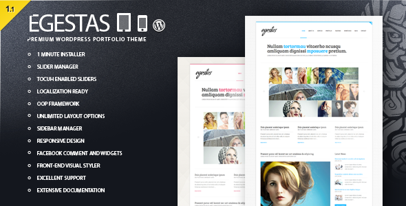 ThemeForest Egestas Clean WordPress Portfolio Theme 3167206