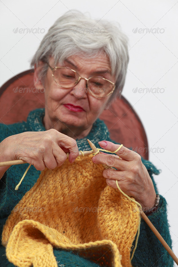 Old Woman Knitting - Stock Photo - Images