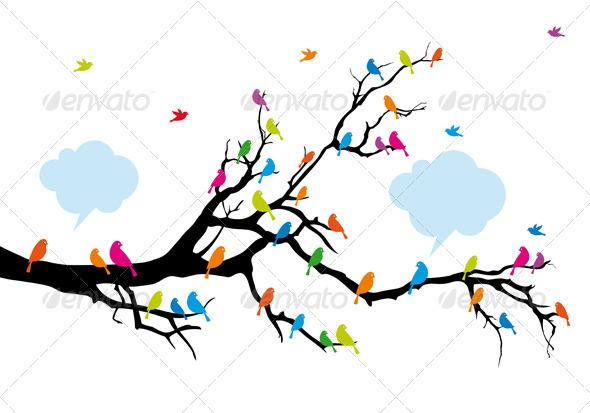 Color Birds On Tree Vector