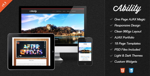 ThemeForest Ability Responsive One Page Ajax HTML Template 3076592