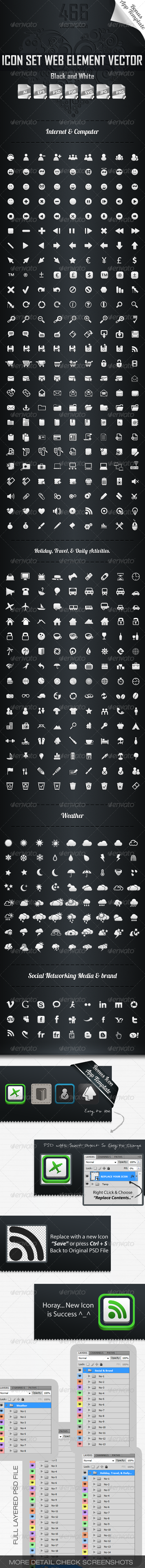 GraphicRiver 446 Icons Pixel Perfect 3226198