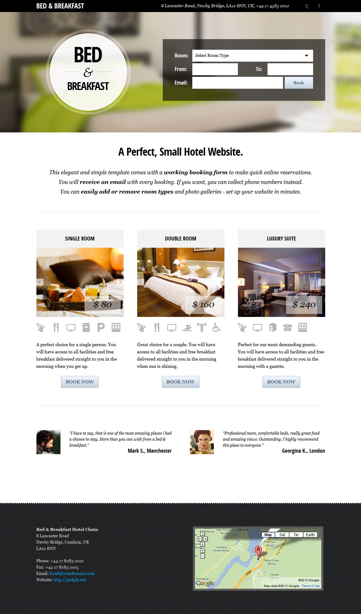 Bed & Breakfast - Hotel Landing Page - Landing Page Design