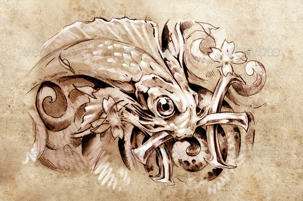 Tattoo art, sketch of a fish, Tattoo art, sketch of a fish, pisc - Stock Photo - Images