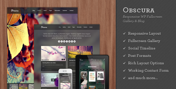 ThemeForest Obscura Responsive WP Fullscreen Gallery & Blog 3215897