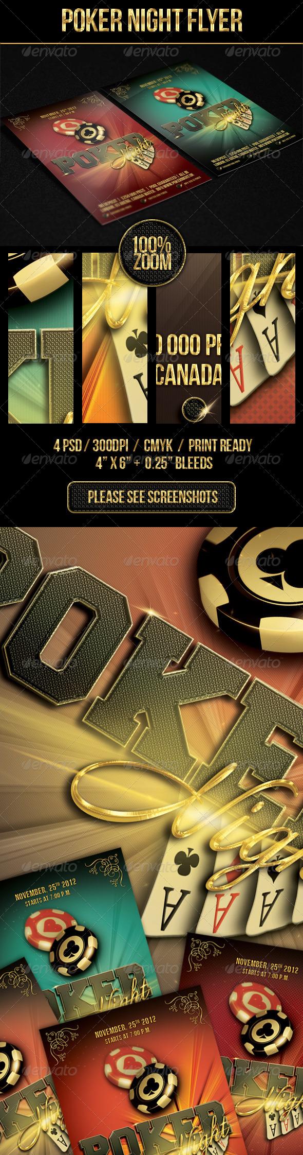Poker Night Flyer Template 4 x 6