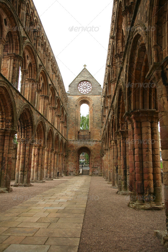 Interior of Jedburgh abbey - Stock Photo - Images