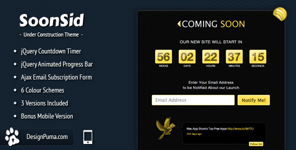 ThemeForest SoonSid Coming Soon Theme 151921