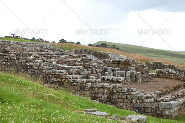 The ancient roman fort at Housesteads in Northumberland - Stock Photo - Images