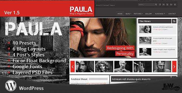 ThemeForest Paula Blog & Magazine Wordpress Theme 2810721