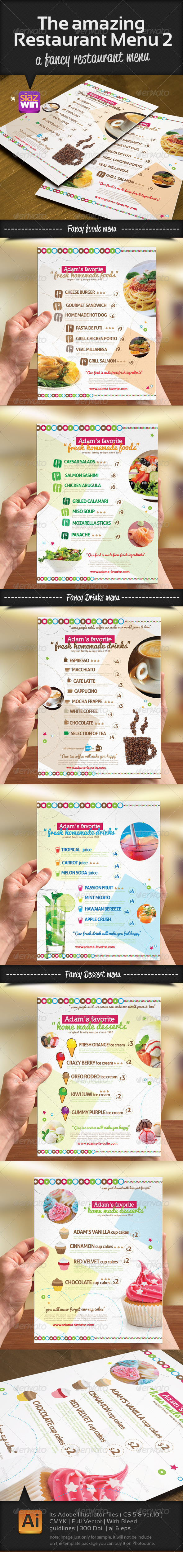 The Amazing Restaurant Menu 2 - Food Menus Print Templates