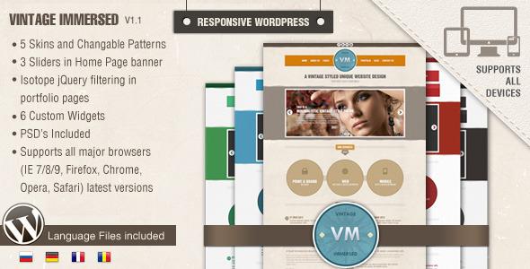 ThemeForest Vintage Immersed Multipurpose WordPress Theme 2866563
