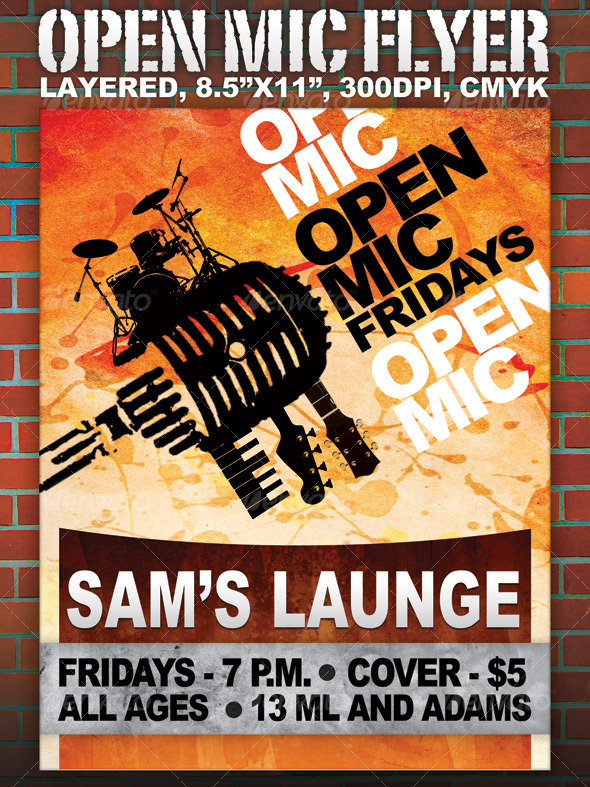 Open Mic Flyer - 8.5x11 - layered - Concerts Events